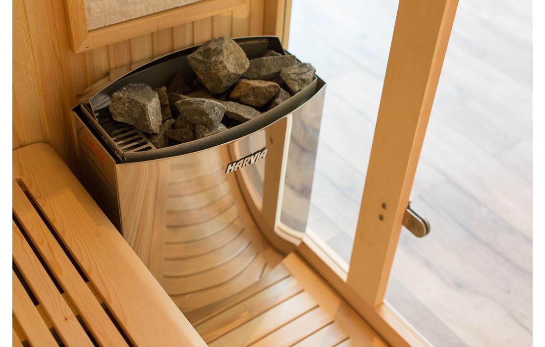 sauna finlandese cortina stufa harvia